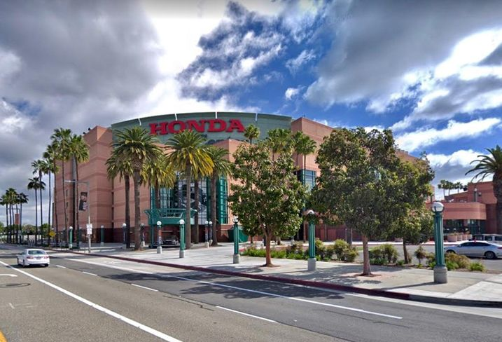 Photo of the Honda Center in Anaheim, where the best tree care is supplied by Garden Grove Tree Service.