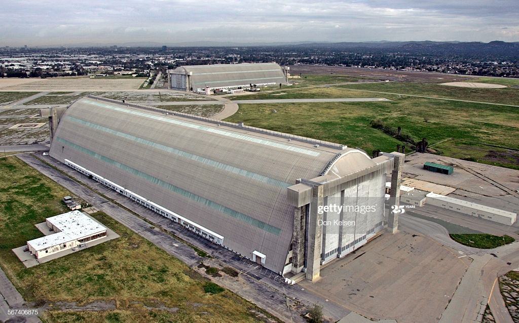 One of the last World War II–era blimp hangars (foreground) will be demolished to make way for a planned community at the old Tustin Marine base. A second hangar in the background has been preserved and will be used as an indoor sports facilities. Photo taken March 24, 2005.  (Photo by Don Kelsen/Los Angeles Times via Getty Images)